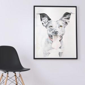 A watercolor painting of a dog