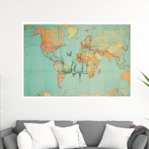 1,5 meter wide vintage world map from 1955 with romantic pen drawing