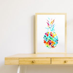 Watercolor painting of a pineapple for a baby room